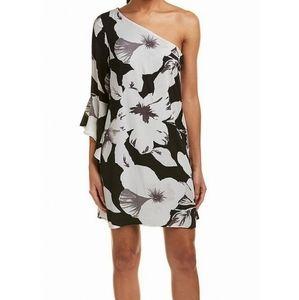 CeCe Flower Printed One-Shoulder Shift Dress